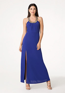 bebe Embellished Neck Maxi Dress