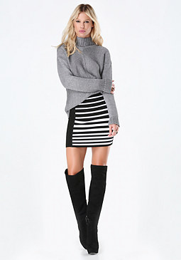 bebe Striped Sweater Skirt