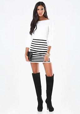 bebe Striped Sweater Skirt