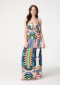 bebe Petite Geo Print Maxi Dress