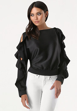 bebe Ruffled Cold Shoulder Top