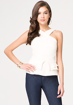 Fold Detail Peplum Top at bebe