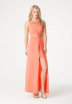 bebe Twist Front Maxi Dress