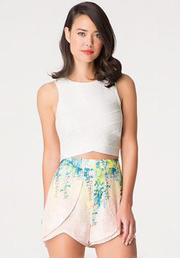 bebe Mesh Back Bandage Crop Top
