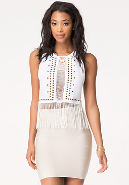 bebe Fringed Peplum Top