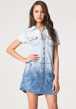 bebe Ombre Denim Shirtdress