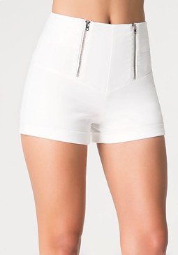 Corset Waist Cuffed Shorts at bebe