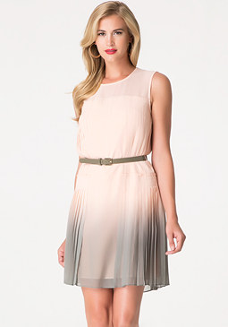 bebe Dip Dye Pleated Dress