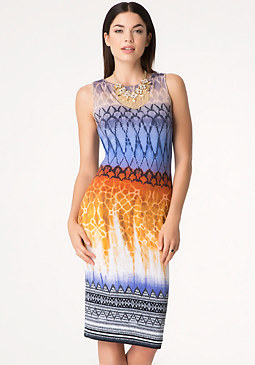 Print Braid Back Dress at bebe