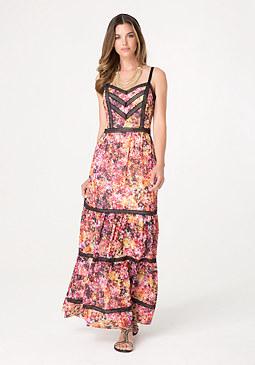 bebe Petite Print Maxi Dress