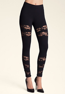 bebe Lace Inset Power Leggings