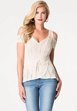 bebe Wrap Hem Sweater Top