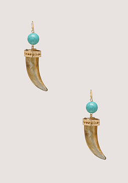 bebe Resin Horn Drop Earrings