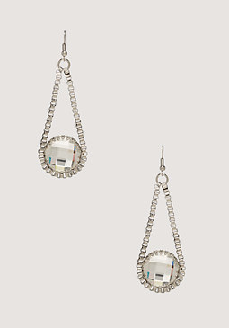 bebe Box Chain Crystal Earrings