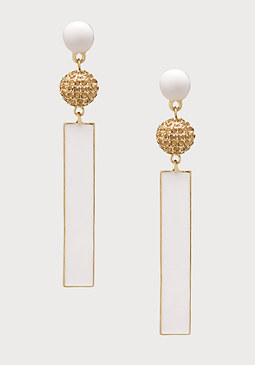 bebe Enamel Bar Drop Earrings