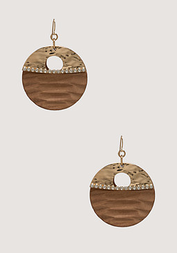 bebe Textured Wood Earrings