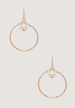 bebe Scroll Metal Hoop Earrings