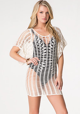 bebe Open Stitch Shimmer Tunic