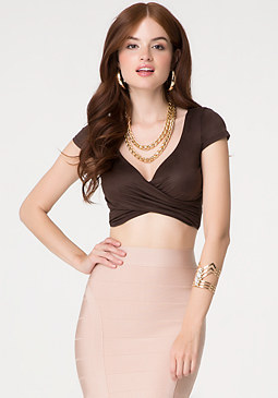 Cap Sleeve Wrap Crop Top at bebe