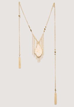bebe Stone & Tassel Necklace