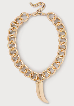 bebe Gold Chain & Horn Necklace