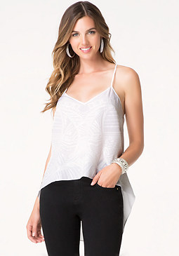 bebe Tonal Sequin Silk Top