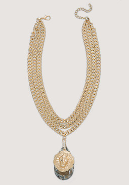 bebe Chain & Lion Necklace