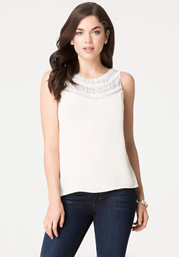bebe Embellished Yoke Top