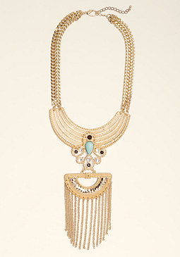 bebe Plate & Tassel Bib Necklace