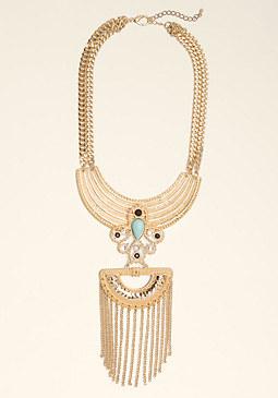 bebe Plate & Tassel Bib Necklace