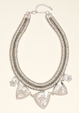 bebe Coil & Crystal Necklace