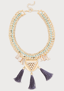 bebe Crystal & Tassel Necklace