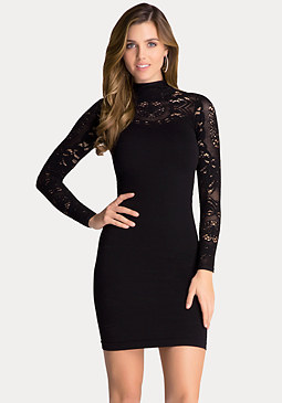 bebe Mock Neck Lace Detail Dress