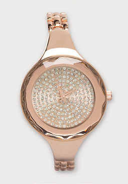 bebe Diamond Cut Bezel Watch