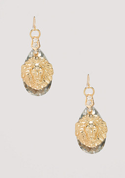 bebe Lion Crystal Drop Earrings