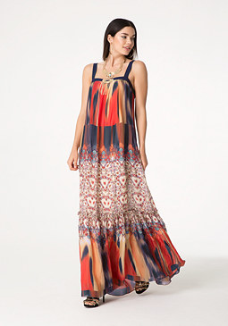bebe Print Ruffle Hem Maxi Dress