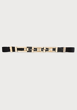 bebe Metal Bar Braided Belt