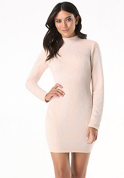 bebe Iridescent Quilted Dress