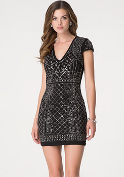 bebe Studded Quilted Mini Dress