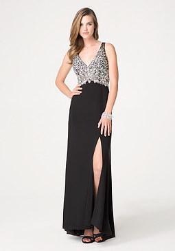 bebe Embellished Bodice Gown