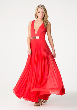 bebe Red Pleated Gown