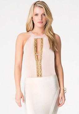 bebe Solid Embellished Bodysuit