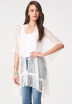 Crochet Fringed Cover Up at bebe