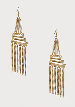 bebe Mix Chain Linear Earrings