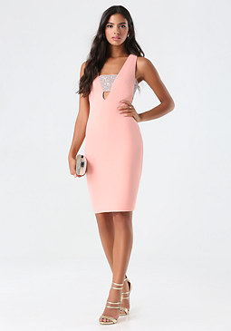 bebe Stone Cutout Midi Dress