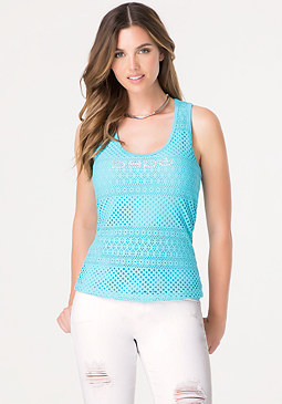bebe Logo Double Layer Mesh Tank