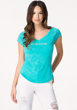 bebe Logo Burnout Double V Tee