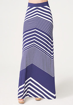 bebe Chevron Stripe Maxi Skirt