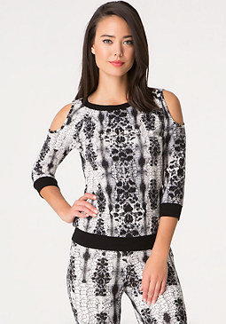 bebe Logo Print Lace Back Top