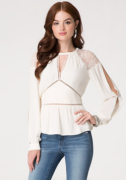 bebe Lace Paneled Blouse